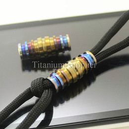 Wholesale Pull Beads - 2pcs Titanium 24mm Paracord Lanyard Bead for EDC Key Chain Knife Cord Zipper Pull