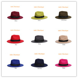 Wholesale Christmas Fedora Hat - New 2016 Fashion Unisex Wide Brim Jazz Cap Spring Brand Cotton Wool Fedora Hats For Men Vintage Women Black Panama Sun Top Hat