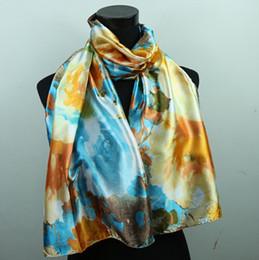 Wholesale Gold Silk Wrap - 1pcs Gold Skyblue Lily Flower Women's Satin Oil Painting Shawl Beach Fashion Silk Scarf 160X50cm Scarves & Wraps
