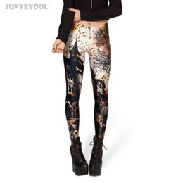 Wholesale House Leggings - Work Out Clothing Women Punk Pants Rock Club Appearl High Waist Leggings Women's Cool Haunted House Print Extend Skinny Trousers