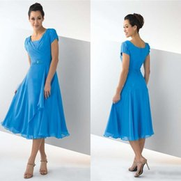 Wholesale Modest Tea Length Dresses - 2015 Modest Pleated Chiffon Cap Sleeve Bridesmaid Dresses BlueTea Length Cheap Prom Mother of Bride Party Gown Custom made