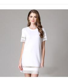 Wholesale White Dress Shift - 2015 Shift Dresses Short Party Lace Dress Crew Short Sleeve Sheath White Black Summer Style Dress Party Dresses Cheap Modest New Arrive