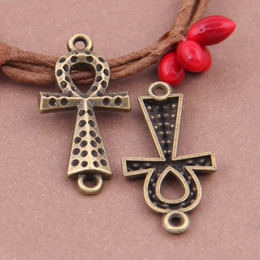 Canada 20 Pièces ankh égyptienne mystérieuse symble deux trous connecter 32x16mm pendentif en bronze livraison gratuite bijoux pour bracelet collier Offre