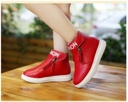 Wholesale Hot Korean Boots - New Hot Sale Girls Leather Matin Boots Korean Style Children Autumn Winter Warm Shoes Fashion Girl Zipper Casual Shoes 3 Colors Retail