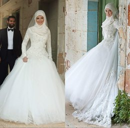 Wholesale Lace Sash Online - 2016 New Arrival Bohemian Arabic Muslim Long Sleeve Modest Wedding Dresses Online Lace Floor Length White Cheap Bridal Gowns
