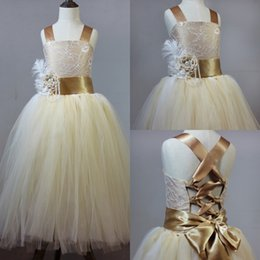 Wholesale Hc Dresses - Vintage Lace Champagne Fluffy Tulle Ball Gown Flower Girl Dresses For Weddings Lace Handmade Flowers Waist Little Girls Party Tutu Dress HC