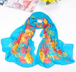 Wholesale Towel Gift Wrapping - HWJ116 New small Peony Printed Scarves Long Section Chiffon Beach Towel,Birthday Gift Soft Shoulder Shawl,160x50cm 30PCS lot Free Ship
