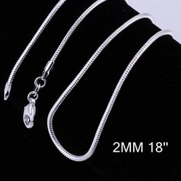 """Wholesale China Glass Pendants - 925 Silver Snake Chains Of 2MM 16"""" 18"""" 20"""" 22"""" 24"""" Fashion Pendant Link Chain C010"""