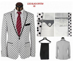 цвета смокингов Скидка Wholesale-2015 unique printed dots fashion suit &tuxedo comes in 2 colors(white surface black dots)