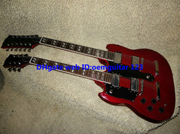Wholesale Double Neck Left - Red 1275 Custom Double Neck Left Handed Electric Guitar mahogany body high quality hot