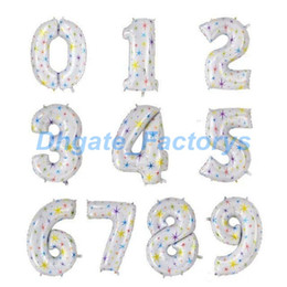Wholesale Giant Candy - 40 inch Big Size Number Foil Balloons With Star Giant Helium Globos Baby's Gifts Birthday Wedding Party Decor JF-4258