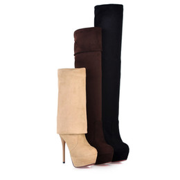 Wholesale Sexy Brown Thigh High Boots - 2014 new arrive Fashion shoes Sexy Over the knee Faux suede Steel tube woman party boots pumps US 4-11 Big size
