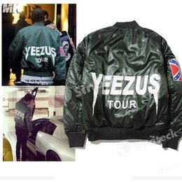 Wholesale Long Winter Parka For Men - Free DHL KANYE WEST YEEZUS TOUR Jacket Limited Edition Thick Coat MA1 MA-1 Cotton Parkas with Rebel Civil War Flag Armband for Autumn Winter