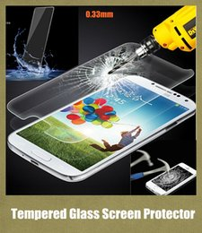 Wholesale S4 Note 4g - 0.33mm glass protector premium tempered glass screen 8-9H hardness cell phone film fit iphone 4G 5G iphone 6 6plus note 2 3 NEO s3 s4 SSC006