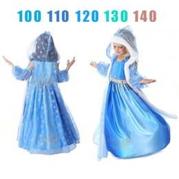 Wholesale Snow Cap Style - choose Size Girls Snowflake Dresses with cap and cape snow printed Romantic princess girl dress children kids cloak christmas Gift K28