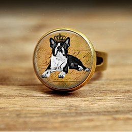 Wholesale Photo Engagement Ring - R21-Boston Terrier Necklace Glass Dome Pendant Picture Pendant Photo Pendant Handcrafted Jewelry