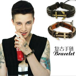 Wholesale Anchor Hook Bracelet - 2015 Christmas gift Men bracelets Retro boat anchor hook PU leather Vintage weave bracelet Couples wristband for boy friends