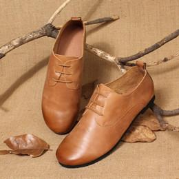 Scarpe in pelle marrone arrotondata online-vendita all'ingrosso di calzature vintage in pelle morbida fatta a mano scarpe stringate in pelle marrone chiaro mocassini beige 35-40