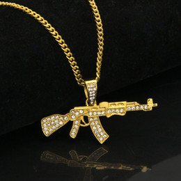 "Wholesale Cz Solitaire - Mens 18k Gold Silver Plated Iced Cz Hip-Hop AK-47 Gun Pendant Necklace 3mm 24"" long Cuban Chain Necklace Fashion Jewelry Christmas birthday"