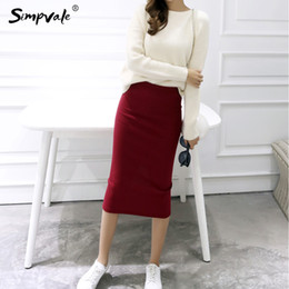 Wholesale Women Wholesale Slit Skirt - Wholesale- SIMPVALE Solid Color Pencil Skirts Women Stretched Knitted Skirt Female Middle Waist Slim Sexy Elastic Open Slit Office Skirt