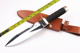 Wholesale New Paracord - FREE SHIPPING 11.5'' New Rope handle mirror light Back Serrated Survival Bowie Hunting Knife VTH91