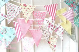 Wholesale Home Handmade Decoration - 36pcs cotton banner colorful handmade fabric flags bunting party decoration party supplies events home decor home decoration