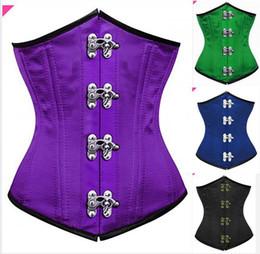 Wholesale Underwear 24 - New Green Purple Bodice shapewear girdle 24 Spiral Steel Boned slimming underwear Waist training corset Steampunk Clothing