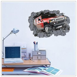 Wholesale Wall Decals Roads - 70*100cm hot sale extra large 3D Hummer Off-road Cars Hoom Decorative Wall Stickers Boy Like favorite wall Decal