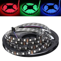 Wholesale Pcb Rgb - 5M Flexible Strips RGB Strip Light LED Light Strip 16ft 5050SMD 5M 300LEDs Waterproof IP65 PCB black Car Motorbike LED Christmas Lighting