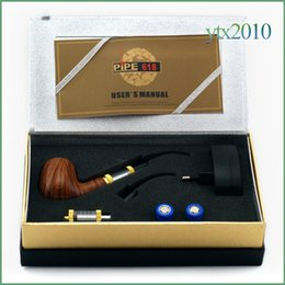 Wholesale E Pipe Metal - Pipe 618 electronic cigarette e cigarette Single Kit E pipe 618 2.5ml Atomizer With 18350 Battery Wood Gift Box