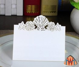 Wholesale Laser Place Cards - 100pcs Laser Cut Hollow Shell Paper Table Card Number Name Card For Party Wedding Place Card Decorate