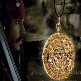 Wholesale Pirates Caribbean Jewelry - Fashion Jewelry Antique Bronze Plated Alloy Aztec Coin Pendant Necklace Pirates of the Caribbean Vintage Long Necklace 2 Colors