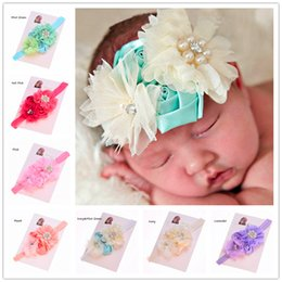 Wholesale Rosette Shabby Chic Flowers - 12 pcs Shabby Chic Headband Baby flower headband Rosette flower headband Baby girls Lace flower hairband Baby Headband Hair Bows