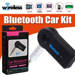 Wholesale Headphone Bluetooth Transmitter - Universal 3.5mm Bluetooth Car Kit A2DP Wireless FM Transmitter AUX Audio Music Receiver Adapter Handsfree Mic For Speaker Headphone With Box