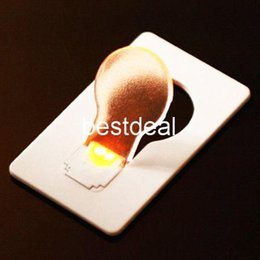 Wholesale Led Wallet Bulb - Novelty Items Emergency ABS Small THIN Portable LED Card Light Bulb Lamp Pocket Wallet Size 2016 HOT Search wholesale