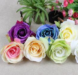 Flores de seda al por mayor cabezas de rosas flores artificiales de diámetro 4.3 pulgadas de flores falsas cabeza flores de seda de alta calidad envío gratis WF001 desde fabricantes