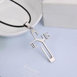 Wholesale 316l Cross - Wholesale-Fashion necklaces JESUS cross Pendant 316L Stainless Steel necklaces & pendants Leather Chain women & men jewelry