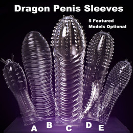 Wholesale Dragon Penis Sleeve - 20151205 1PC Newest Reusable Penis Sleeve Dragon Cock Ring Sleeves Penis Extender Condoms Sex Toys Sex Products TT016