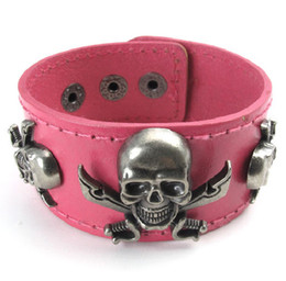 "Wholesale Womens Bracelet Pink Leather - Womens Wide Leather Pirate Skull Bangle Cuff Pink Bracelet Fits 7"" to 8"""