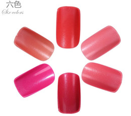 pre design tips UK - Wholesale-24PCS Pre Design French False Nails full Cover Nail Tips Solid Color SEXY RED Fake nail art decoration Acrylic Finger nail