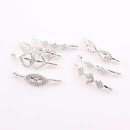 Wholesale Sideways Bracelet Beads - New sideways crystal Rhinestone Curved bar tube beads connector charms DIY making bracelets 10pcs JJAL ZBE296