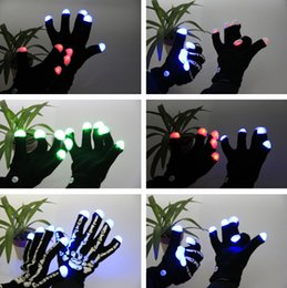 Wholesale Wholesale Christmas Novelty Items - LED Skull Gloves lighting gloves flashing cosplay novelty glove led light toy item flash gloves for Halloween Christmas Party Props gifts