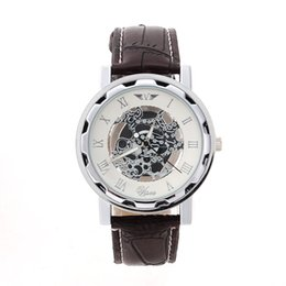 Wholesale Golden Fashion Watches For Men - Men Watch leather watch golden number faux mechanical automatic watches sport Wristwatch For Man Laddy Lowest Price Luxury Gold Sliver
