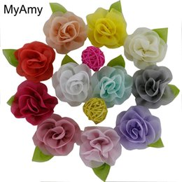 Wholesale Korean Hair Accessories Free Shipping - Myamy 100pcs  Lot Girls Hair Accessories Korean Chiffon Flower With Green Leaf Rolled Rosette Without Hair Clips Free Shipping
