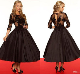 Wholesale Bandage Wedding Ball Gown - Vintage Black Lace Mother Of The Bride Tea Length Dresses With Scoop Neck 3 4 Sleeves Appliques Taffeta Skirts Ball Gown Wedding Dresses
