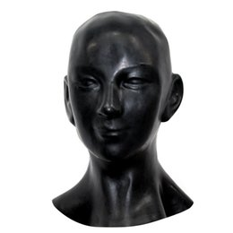 Wholesale Black Hood Mask - Wholesale-New plus thick 1mm Anatomical 3D mask w ears fetish latex hood Sexy rubber Smile face heavy men women