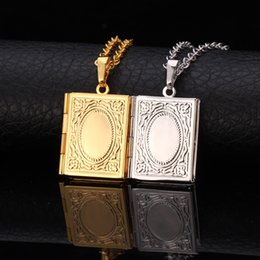Wholesale European Plate Frame - New Trendy European Vintage Pendants Gift 18K Gold Plated Locket Charms Photo Frame Necklaces & Pendants Women Men Jewelry P196