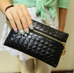 Wholesale Leather Clutch For Iphone - 2015 New Fashion Women Coin Purse Mini Black Handbag bag holder Lady 5 Color leather clutch fold small pouch for iphone 6 Plus 5s 5C 4S