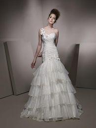UK ivory ella wedding dress - ella rosa wedding dresses Lace-up Court Train Mermaid Satin Hand Made Flowers One Shoulder Pleats Crystal No Risk Shopping High Quality