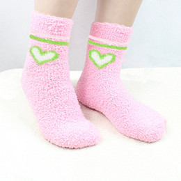 Wholesale Fuzzy Fleece - Cute Fuzzy Love Heart Fulffy Socks Women Fuzzy Bow Socks Winter Warm Socks Towel Candy Color bowknot Thick Floor Thermal coral fleece Socks